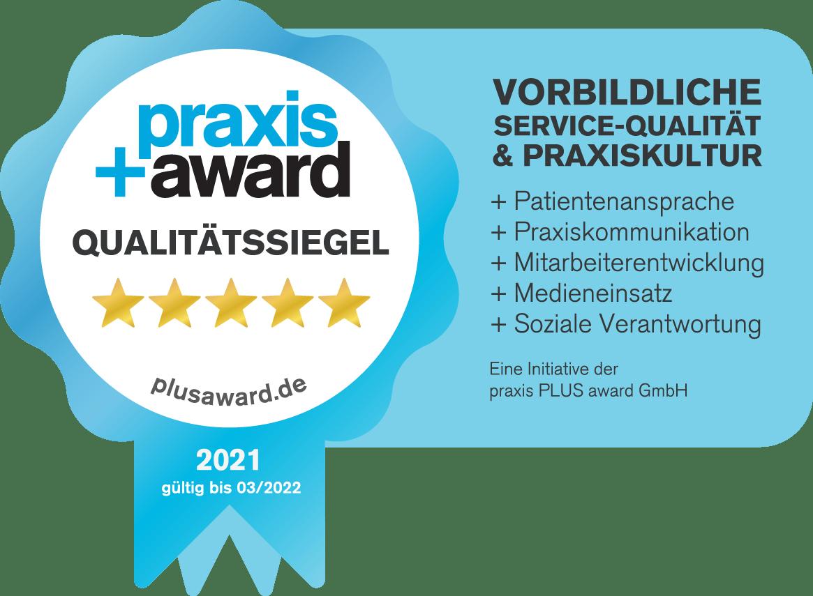 Praxis Plus Award Qialitätssiegel 2020